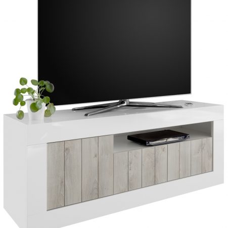 Tv-meubel Urbino 138 cm breed in hoogglans wit met grenen wit