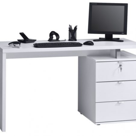 Bureau Abby 140 cm breed in wit met hoogglans wit