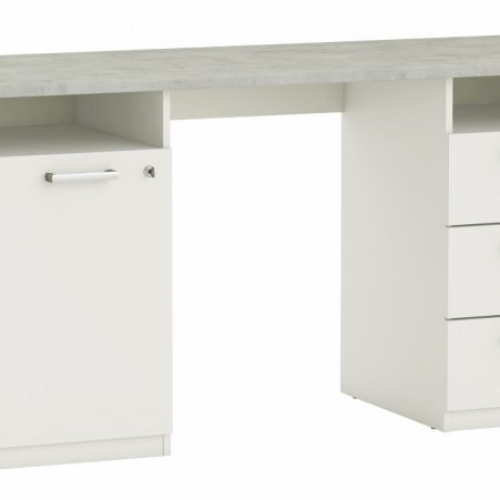 Bureau Stanford 145 cm breed in beton met wit