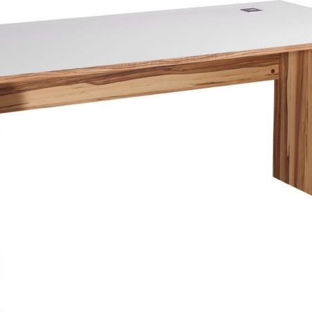 Bureau Linea 160 cm breed in walnoot met wit