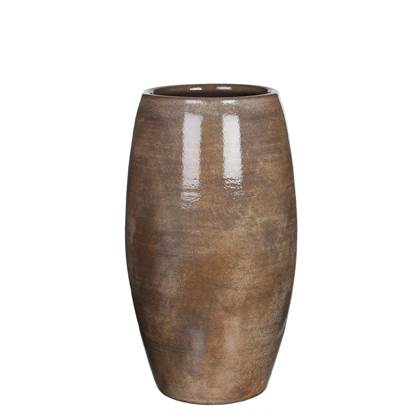 Mica Decorations lester vaas rond donkerbruin maat in cm: h50 x d30cm