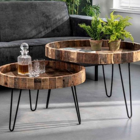 Salontafel Set Lodge in massief gerecycled hout