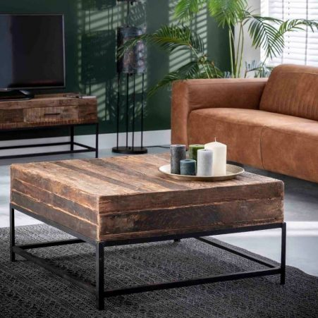 Vierkante salontafel Lodge 90x46x90 cm breed in massief gerecycled hout