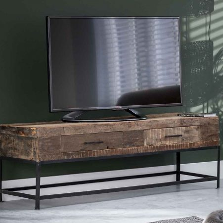 Tv-meubel Lodge 135 cm breed in massief gerecycled hout